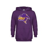 Youth Purple Fleece Hood-Football