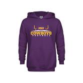 Youth Purple Fleece Hood-Cowboys Football w/ Field