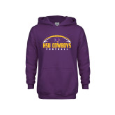 Youth Purple Fleece Hoodie-HSU Cowboys Football w/ Ball