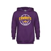 Youth Purple Fleece Hood-HSU Cowboys Basketball w/ Ball