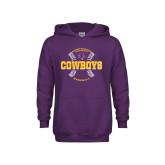 Youth Purple Fleece Hoodie-HSU Cowboys Baseball w/ Seams