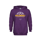 Youth Purple Fleece Hoodie-HSU Cowgirls Soccer Stacked