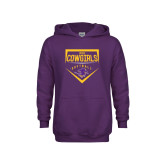 Youth Purple Fleece Hoodie-HSU Cowgirls Softball Plate