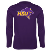 Performance Purple Longsleeve Shirt-HSU Cowboy