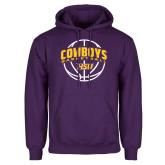 Purple Fleece Hoodie-HSU Cowboys Basketball w/ Ball