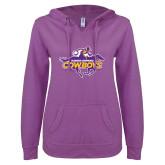 ENZA Ladies Berry V Notch Raw Edge Fleece Hoodie-Primary Logo
