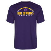 Performance Purple Tee-HSU Cowboys Football w/ Ball
