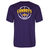 Performance Purple Tee-HSU Cowboys Basketball w/ Ball