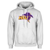 White Fleece Hoodie-HSU Cowboy