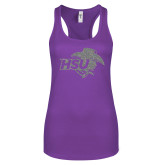 Next Level Ladies Purple Berry Jersey Racerback Tank-HSU Cowgirl Silver Soft Glitter