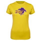 Ladies Syntrel Performance Gold Tee-HSU Cowgirl