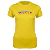 Ladies Syntrel Performance Gold Tee-Hardin-Simmons Cowgirls