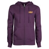 ENZA Ladies Purple Fleece Full Zip Hoodie-HSU