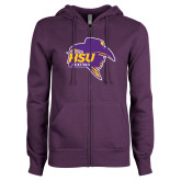 ENZA Ladies Purple Fleece Full Zip Hoodie-Mens Basketball