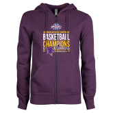ENZA Ladies Purple Fleece Full Zip Hoodie-2017 ASC Champions - Mens Basketball Stacked