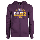 ENZA Ladies Purple Fleece Full Zip Hoodie-2017 ASC Champs - Mens Basketball Half Ball