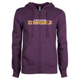 ENZA Ladies Purple Fleece Full Zip Hoodie-Hardin-Simmons Cowgirls