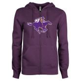 ENZA Ladies Purple Fleece Full Zip Hoodie-Cowgirl Riding