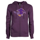 ENZA Ladies Purple Fleece Full Zip Hoodie-Cowgirl Head