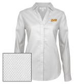 Ladies Red House Diamond Dobby White Long Sleeve Shirt-HSU