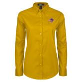 Ladies Gold Twill Button Down Long Sleeve-HSU Cowgirl