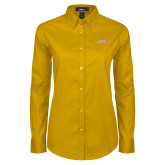 Ladies Gold Twill Button Down Long Sleeve-Hardin-Simmons Cowgirls