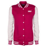 Ladies Pink Raspberry/White Fleece Letterman Jacket-HSU