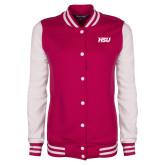Ladies Pink Raspberry/White Fleece Letterman Jacket-HSU