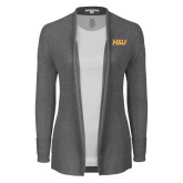 Ladies Heather Grey Open Front Cardigan-HSU