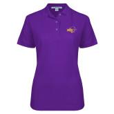 Ladies Easycare Purple Pique Polo-HSU Cowgirl