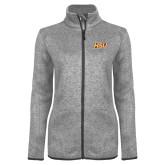 Grey Heather Ladies Fleece Jacket-HSU