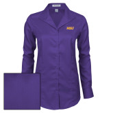 Ladies Red House Deep Purple Herringbone Long Sleeve Shirt-HSU