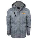 Grey Brushstroke Print Insulated Jacket-HSU