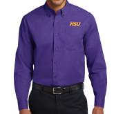 Purple Twill Button Down Long Sleeve-HSU