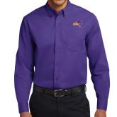 Purple Twill Button Down Long Sleeve-HSU Cowboy