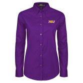 Ladies Purple Twill Button Down Long Sleeve-HSU