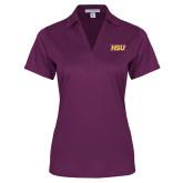 Ladies Purple Performance Fine Jacquard Polo-HSU