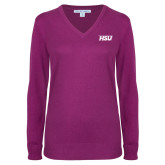 Ladies Deep Berry V Neck Sweater-HSU