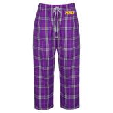 Hardin-Simmons Ladies Purple/White Flannel Pajama Pant-HSU