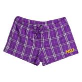 Hardin-Simmons Ladies Purple/White Juniors Flannel Plaid Boxer-HSU