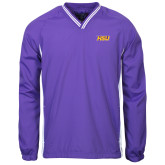 Colorblock V Neck Purple/White Raglan Windshirt-HSU