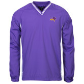 Colorblock V Neck Purple/White Raglan Windshirt-HSU Cowboy