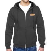 Charcoal Fleece Full Zip Hoodie-HSU