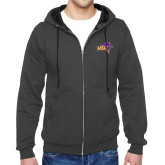 Charcoal Fleece Full Zip Hoodie-HSU Cowboy