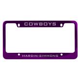 Metal Purple License Plate Frame-Cowboys