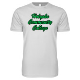 Next Level SoftStyle White T Shirt-Holyoke Community College Script