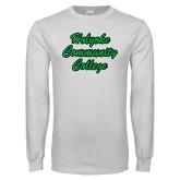 White Long Sleeve T Shirt-Holyoke Community College Script