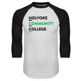 White/Black Raglan Baseball T Shirt-Institutional Logo