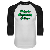 White/Black Raglan Baseball T Shirt-Holyoke Community College Script