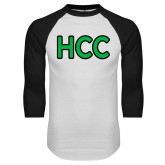 White/Black Raglan Baseball T Shirt-HCC